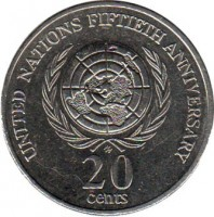 reverse of 20 Cents - Elizabeth II - United Nations (1995) coin with KM# 295 from Australia. Inscription: UNITED NATIONS FIFTIETH ANNIVERSARY HH 20 cents