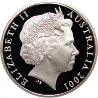 obverse of 20 Cents - Elizabeth II - Victoria (2001) coin with KM# 556 from Australia. Inscription: ELIZABETH II AUSTRALIA 2001 IRB