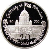 reverse of 20 Cents - Elizabeth II - Victoria (2001) coin with KM# 556 from Australia. Inscription: Centenary of Federation 1901 2001 RDL MAK 20 cents