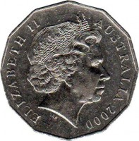 obverse of 50 Cents - Elizabeth II - Millennium (2000) coin with KM# 488 from Australia. Inscription: ELIZABETH II AUSTRALIA 2000 IRB