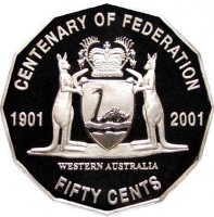 reverse of 50 Cents - Elizabeth II - Western Australia (2001) coin with KM# 563 from Australia. Inscription: CENTENARY OF FEDERATION 1901 2001 FIFTY CENTS