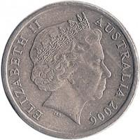 obverse of 2 Dollars - Elizabeth II - 4'th Portrait (1999 - 2015) coin with KM# 406 from Australia. Inscription: ELIZABETH II AUSTRALIA 2006 IRB