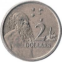 reverse of 2 Dollars - Elizabeth II - 4'th Portrait (1999 - 2015) coin with KM# 406 from Australia. Inscription: 2 DOLLARS