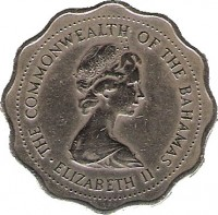 obverse of 10 Cents - Elizabeth II - 2'nd Portrait (1973) coin with KM# 39 from Bahamas. Inscription: THE COMMONWEALTH OF THE BAHAMAS · ELIZABETH II ·