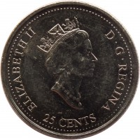 obverse of 25 Cents - Elizabeth II - Community (2000) coin with KM# 376 from Canada. Inscription: ELIZABETH II D · G · REGINA 25 CENTS