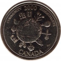 reverse of 25 Cents - Elizabeth II - Community (2000) coin with KM# 376 from Canada. Inscription: COMMUNITY 2000 COMMUNAUTÉ CANADA