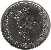 obverse of 25 Cents - Elizabeth II - Wisdom (2000) coin with KM# 378 from Canada. Inscription: ELIZABETH II D · G · REGINA 25 CENTS