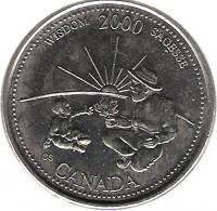 reverse of 25 Cents - Elizabeth II - Wisdom (2000) coin with KM# 378 from Canada. Inscription: WISDOM 2000 SAGESSE CANADA