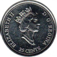 obverse of 25 Cents - Elizabeth II - Family (2000) coin with KM# 375 from Canada. Inscription: ELIZABETH II D · G · REGINA 25 CENTS