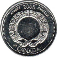 reverse of 25 Cents - Elizabeth II - Family (2000) coin with KM# 375 from Canada. Inscription: FAMILY 2000 FAMILLE WB CANADA