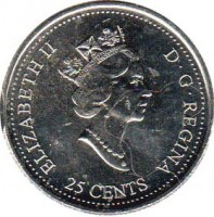 obverse of 25 Cents - Elizabeth II - Celebration (2000) coin with KM# 383 from Canada. Inscription: ELIZABETH II D · G · REGINA 25 CENTS