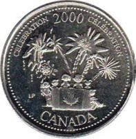 reverse of 25 Cents - Elizabeth II - Celebration (2000) coin with KM# 383 from Canada. Inscription: CELEBRATION 2000 CÉLÉBRATION LP CANADA