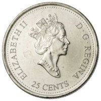 obverse of 25 Cents - Elizabeth II - Natural Legacy (2000) coin with KM# 382 from Canada. Inscription: ELIZABETH II D · G · REGINA 25 CENTS
