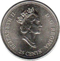 obverse of 25 Cents - Elizabeth II - Achievement (2000) coin with KM# 381 from Canada. Inscription: ELIZABETH II D · G · REGINA 25 CENTS