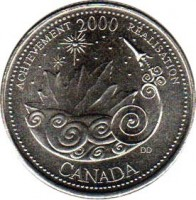 reverse of 25 Cents - Elizabeth II - Achievement (2000) coin with KM# 381 from Canada. Inscription: ACHIEVEMENT 2000 RÉALISATION DD CANADA