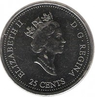 obverse of 25 Cents - Elizabeth II - November (1999) coin with KM# 352 from Canada. Inscription: ELIZABETH II D · G · REGINA 25 CENTS