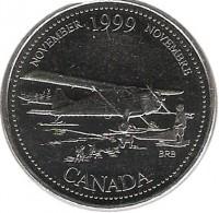 reverse of 25 Cents - Elizabeth II - November (1999) coin with KM# 352 from Canada. Inscription: NOVEMBER 1999 NOVEMBRE CANADA