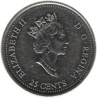 obverse of 25 Cents - Elizabeth II - May (1999) coin with KM# 346 from Canada. Inscription: ELIZABETH II D · G · REGINA 25 CENTS