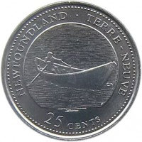 reverse of 25 Cents - Elizabeth II - Newfoundland (1992) coin with KM# 213 from Canada. Inscription: NEWFOUNDLAND · TERRE-NEUVE 25 CENTS