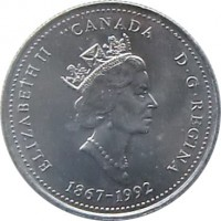 obverse of 25 Cents - Elizabeth II - Nova Scotia (1992) coin with KM# 231 from Canada. Inscription: ELIZABETH II D · G · REGINA CANADA 1867-1992