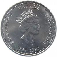 obverse of 25 Cents - Elizabeth II - New Brunswick (1992) coin with KM# 203 from Canada. Inscription: ELIZABETH II CANADA D · G · REGINA 1867-1992