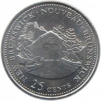 reverse of 25 Cents - Elizabeth II - New Brunswick (1992) coin with KM# 203 from Canada. Inscription: NEW BRUNSWICK · NOUVEAU-BRUNSWICK 25 CENTS