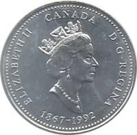 obverse of 25 Cents - Elizabeth II - Northwest Territories (1992) coin with KM# 212 from Canada. Inscription: ELIZABETH II CANADA D · G · REGINA 1867-1992