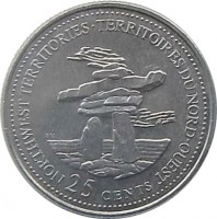 reverse of 25 Cents - Elizabeth II - Northwest Territories (1992) coin with KM# 212 from Canada. Inscription: NORTHWEST TERRITORIES · TERRITOIRES DU NORD-OUEST 25 CENTS