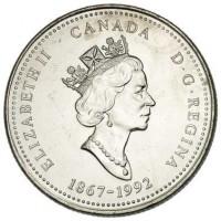 obverse of 25 Cents - Elizabeth II - British Columbia (1992) coin with KM# 232 from Canada. Inscription: ELIZABETH II CANADA D · G · REGINA 1867-1992