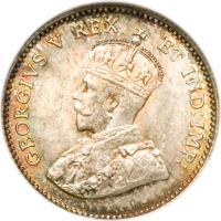 obverse of 5 Cents - George V - Without DEI GRATIA (1911) coin with KM# 16 from Canada. Inscription: GEORGIVS V REX ET IND:IMP: