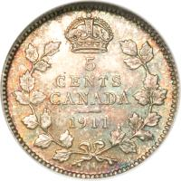 reverse of 5 Cents - George V - Without DEI GRATIA (1911) coin with KM# 16 from Canada. Inscription: 5 CENTS CANADA 1911