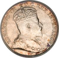 obverse of 5 Cents - Edward VII (1902) coin with KM# 9 from Canada. Inscription: EDWARDVS VII D.G.REX IMPERATOR