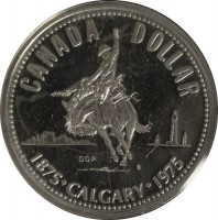 reverse of 1 Dollar - Elizabeth II - Calgary (1975) coin with KM# 97 from Canada. Inscription: CANADA DOLLAR 1875 · CALGARY · 1975