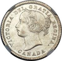 obverse of 10 Cents - Victoria (1858 - 1901) coin with KM# 3 from Canada. Inscription: VICTORIA DEI GRATIA REGINA. CANADA