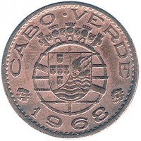 obverse of 50 Centavos (1968) coin with KM# 11 from Cape Verde. Inscription: CABO VERDE 1968