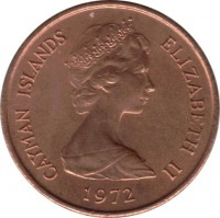 obverse of 1 Cent - Elizabeth II - 2'nd Portrait (1972 - 1986) coin with KM# 1 from Cayman Islands. Inscription: CAYMAN ISLANDS ELIZABETH II 1972