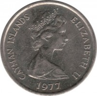 obverse of 10 Cents - Elizabeth II - 2'nd Portrait (1972 - 1986) coin with KM# 3 from Cayman Islands. Inscription: CAYMAN ISLANDS ELIZABETH II 1977