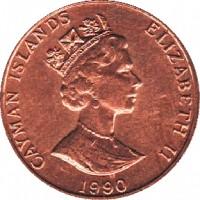 obverse of 1 Cent - Elizabeth II - 3'rd Portrait (1987 - 1990) coin with KM# 87 from Cayman Islands. Inscription: CAYMAN ISLANDS ELIZABETH II 1987