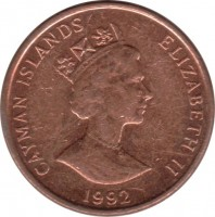obverse of 1 Cent - Elizabeth II - 3'rd Portrait; Magnetic (1992 - 1996) coin with KM# 87a from Cayman Islands. Inscription: CAYMAN ISLANDS ELIZABETH II 1992