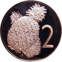 reverse of 2 Tene - Elizabeth II - 2'nd Portrait (1972 - 1983) coin with KM# 2 from Cook Islands. Inscription: 2 JB