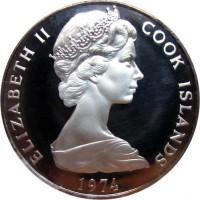 obverse of 1 Dollar - Elizabeth II - 2'nd Portrait (1972 - 1983) coin with KM# 7 from Cook Islands. Inscription: ELIZABETH II COOK ISLANDS 1974