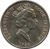 obverse of 50 Tene - Elizabeth II - 3'rd Portrait (1988 - 1994) coin with KM# 41 from Cook Islands. Inscription: ELIZABETH II COOK ISLANDS 1988