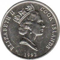 obverse of 20 Tene - Elizabeth II - 3'rd Portrait (1987 - 1994) coin with KM# 35 from Cook Islands. Inscription: ELIZABETH II COOK ISLANDS 1987