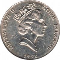 obverse of 10 Tene - Elizabeth II - 3'rd Portrait (1987 - 1994) coin with KM# 34 from Cook Islands. Inscription: ELIZABETH II COOK ISLAND 1992