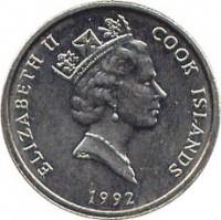 obverse of 5 Tene - Elizabeth II - 3'rd Portrait (1987 - 1994) coin with KM# 33 from Cook Islands. Inscription: ELIZABETH II COOK ISLAND RDM 1992
