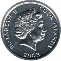obverse of 1 Cent - Elizabeth II - Collie - 4'th Portrait (2003) coin with KM# 420 from Cook Islands. Inscription: ELIZABETH II COOK ISLANDS 2003