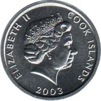 obverse of 1 Cent - Elizabeth II - Monkey - 4'th Portrait (2003) coin with KM# 423 from Cook Islands. Inscription: ELIZABETH II COOK ISLANDS 2003