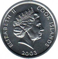 obverse of 1 Cent - Elizabeth II - James Cook - 4'th Portrait (2003) coin with KM# 419 from Cook Islands. Inscription: ELIZABETH II COOK ISLANDS 2003