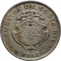 obverse of 2 Colones (1948) coin with KM# 183 from Costa Rica. Inscription: REPUBLICA DE COSTA RICA 1948
