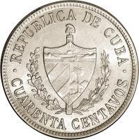 obverse of 40 Centavos (1915 - 1920) coin with KM# 14 from Cuba. Inscription: · REPUBLICA DE CUBA · CURANTA CENTAVOS